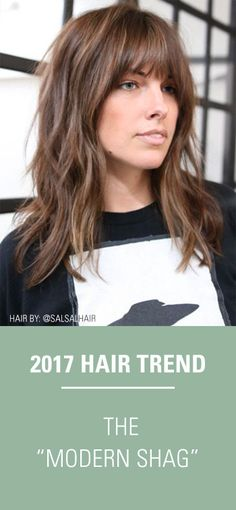 "The modern shag haircut is trending up in 2017! This textured, ""lived in"" is a hairstyle perfected by Hair Stylist, @salsalhair and is right on trend this year! #LayeredHair #TexturedHaircut #ShagHair #HairTrends"