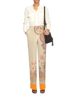 Paisley floral-print silk trousers
