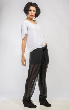 Black Chiffon See-through #Pants with built in by #DariaKaraseva #chiffon #see-through #black #sheer