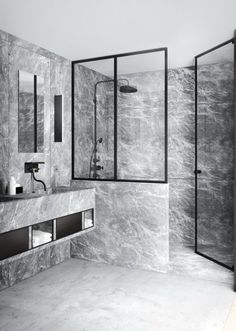 black and glass fixtures on Grey marble bathroom with a floating vanity, designed by Katty Schiebeck, via Grey Marble Bathroom, Grey Bathrooms, Beautiful Bathrooms, Modern Bathroom, Luxurious Bathrooms, Stone Bathroom, Marble Bathrooms, Simple Bathroom, Bathroom Interior Design