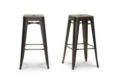 Baxton Studio French Industrial Modern Bar Stool in Antique Copper   Wholesale Interiors