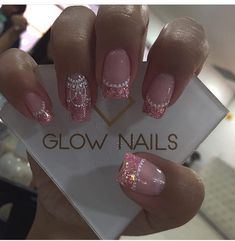 Image may contain: one or more people and closeup French Acrylic Nails, Cute Acrylic Nails, Cute Nails, Pretty Nails, Sparkle Nails, Pink Nails, My Nails, Easter Nail Designs, Fall Nail Designs