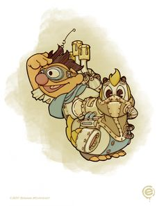 Steampunk artwork with Ernie and his ducky.
