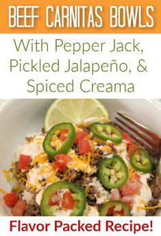 A delicious, flavorful recipe that pleases all the tastebuds! And healthy to boot! {Beef Carnitas Bowls -with Pepper Jack, Pickled, Jalapeno, Spiced Creama Sauce} Summer Recipes, Great Recipes, Dinner Recipes, How To Cook Rice, Food To Make, Beef Carnitas, Carnitas Recipe, Delicious Donuts, Cheap Meals