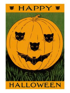 Halloween, Jack O'Lantern with Cat and Bat Cut-Outs Art Print Retro Halloween, Spooky Halloween, Halloween Imagem, Vintage Halloween Cards, Halloween Words, Halloween Pictures, Holidays Halloween, Halloween Pumpkins, Happy Halloween