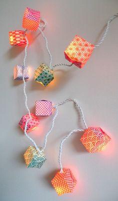 #Guirlande #graphique lumineuse, 10 cubes de studio gribouille sur DaWanda.com