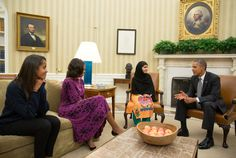 President Barack Obama, First Lady Michelle Obama, and their daughter Malia meet with Malala Yousafzai, the young Pakistani schoolgirl who was shot in the head by the Taliban a year ago, in the Oval Office, Oct. 11 (Official White House Photo by Pete Souza)