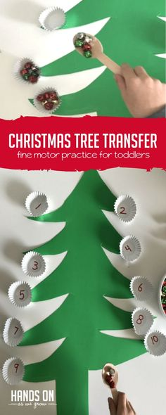 This Christmas activity gets little ones practicing fine motor skills and sound sensory! https://handsonaswegrow.com/christmas-fine-motor-activity/