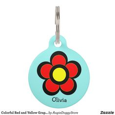 Colorful Red and Yellow Graphic Art Daisy Pet Tag - red gifts color style cyo diy personalize unique Pet Name Tags, Pet Id Tags, Psychedelic Colors, Custom Pet Tags, Turquoise Background, Red Gifts, Pet Names, Artwork Design, Antique Shops