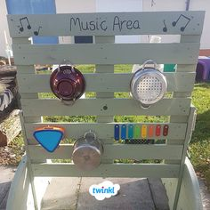 EYFS Outdoor Music Area Upcycling repurposing and reusing pots pans and instruments to create a simple effective and fun outdoor sound wall letting children make music Cl. Outdoor Learning Spaces, Outdoor Play Areas, Eyfs Outdoor Area Ideas, Eyfs Activities, Nursery Activities, Summer Activities, Outdoor Activities, Eyfs Classroom, Outdoor Classroom