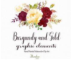 Burgundy and Gold watercolor clipartburgundy flower