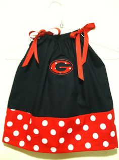 UGA Appliqued  pillow case dress any size. $25.00, via Etsy.