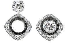 Convertible Black and White Diamond Earrings! Three Earrings in One!