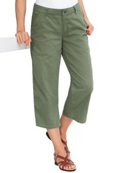 Capri pants with freedom comfort features | Plus Size Cargos ...