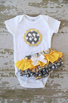 Gray And Yellow Ruffle Bottom Bloomers and Personalized Onesie. $40.00, via Etsy.