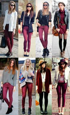Pin by Elisabeth Gustafson on Love Love Love in 2019 Burgundy Jeans Outfit, Purple Pants Outfit, Colored Jeans Outfits, Jeans Outfit Winter, Casual Work Outfits, Mode Outfits, Fall Outfits, Outfit Pantalon Vino, Business Casual