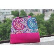 Royal Pink Silk Paisley Embroidered Evening Handbag