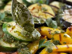 Chimichurri spooned onto Grilled Vegetables BudgetBytes.com