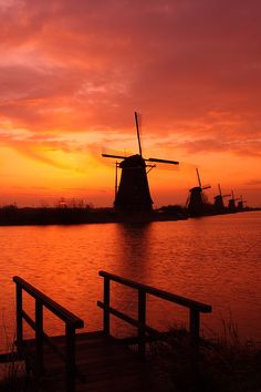 Sunrise - Windmill in Kinderdijk, South Holland, Netherlands.