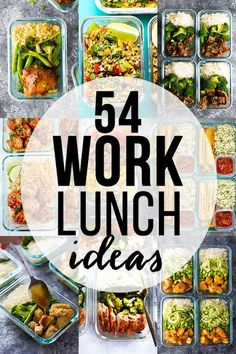 lunch recipes 54 healthy lunch ideas for work- save yourself money and eat healthier by making your own lunch. Get a ton of lunch ideas including cold salads, hot lunches, granola bars, snacks and soups! Simple, delicious and healthy lunch recipes. Healthy Lunches For Work, Prepped Lunches, Easy Healthy Lunch Ideas, Health Lunch Ideas, Gluten Free Lunch Ideas, Simple Healthy Meals, Diabetic Lunch Ideas, Healthy High Protein Meals, Health Lunches