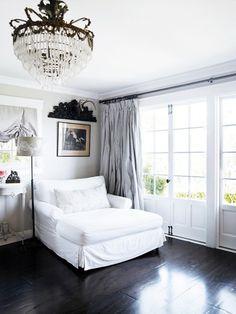 Greys and white and dark wood