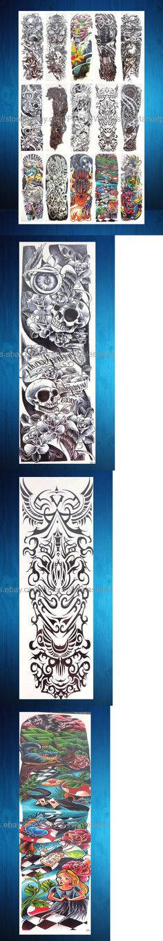 Temporary Tattoos: Us Seller-12 Sheets Skull Full Arm Sleeve Tattoo 18 Extra Large Temporary Tatoo BUY IT NOW ONLY: $38.5