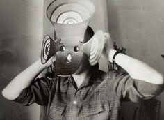 Chris Marker with mask by Jean-Michel Folon