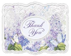 8 4 x 5.5 Die Cut and Embossed Boxed Lilacs and Butterflies Thank You Notes with Envelopes featuring the amazing graphics of Carol Wilson Fine Arts