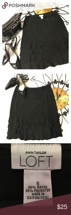 Skirt NWOTCute little black skirt with 4 ruffles. Bundle with the shoes and purse! Save save save.... Ann Taylor Skirts