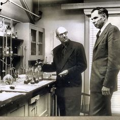 """Today in WW2 history 1941 Glenn Seaborg (right) discovers Plutonium.  """"We perceived ourselves to be in a life or death race with Hitler. Because 2 German chemists had discovered fission.  we had certain indications. The bombed out heavy water plant in Norway, that's one way of producing plutonium. Lots of signs made us think that we were in a losing race. We had understood full well what it would have meant if Adolf had got the atomic bomb before the Allies did - total world domination."""
