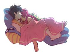 Robin and Starfire sleeping together in bed