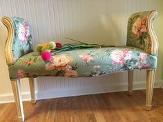 SaLe CABBAGE ROSES BENCH End of Bed Bench, Stool, Upholstered Bench Shabby Chic, Romantic Home, Hollywood Regency at Ageless Alchemy by agelessalchemy on Etsy https://www.etsy.com/listing/252431139/sale-cabbage-roses-bench-end-of-bed