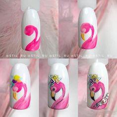 Cartoon Nail Designs, Animal Nail Designs, Cute Nail Art Designs, Rose Nail Art, Gel Nail Art, Nail Manicure, Pedicure, Lynn Nails, Disney Acrylic Nails