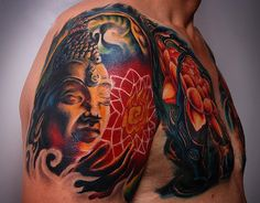 Color #Buddha #tattoo with lotus #flowers - #tattoos