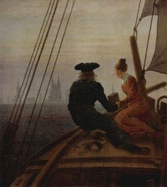 On a Sailing Ship, by Casper David Friedrich, 1818 to State Hermitage Museum, St. Casper David, Robin Hobb, Oil On Canvas, Canvas Art, Couple Painting, Hermitage Museum, Peter Paul Rubens, Creepy Art, Western Art