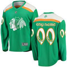 St. Patrick's Day Chicago Blackhawks Jersey - Customized NHL jersey.. Choose any player from the Blackhawks roster.  S, M, L, XL, 2X (XXL), 3X (3XL).  #chicagoblackhawks #stpatricksday #jerseys