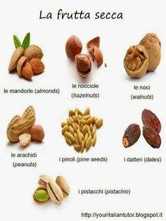 La frutta secca / The dried fruit nuts no I Italian Grammar, Italian Vocabulary, Italian Phrases, Italian Words, Italian Language, Italian Quotes, Learn To Speak Italian, Learn French, French Language Learning