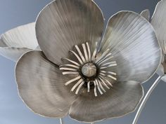 Poppy Flowers Metal Sculpture