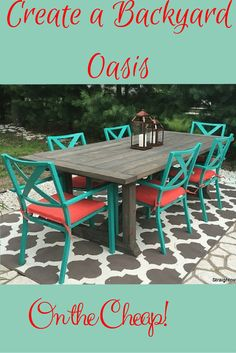 Great and beautiful outdoor patio and garden furniture brings comfort and function to the outdoor area. Possessing a spacious table and easy to use comfortable chairs in your patio can easily make a lots of Rustic Patio, Diy Patio, Painted Patio Table, Used Outdoor Furniture, Wooden Furniture, Antique Furniture, Furniture Ideas, Wooden Patios, Outdoor Tables