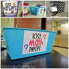 KindergartenWorks: lost math pieces bucket