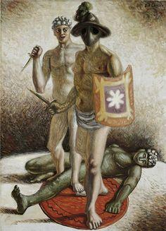 Giorgio de Chirico- Gladiadores, 1929.  Óleo sobre lienzo