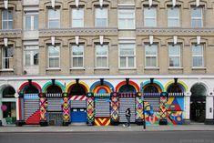 "London ""Melt the Guns"" mural 2013 (Maya Hayuk)"