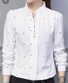 V Neck Dot Blouses – wanokitty plus size womens fashions beautiful plus size plus size shirts plus size shirts casual plus size shirts for women Blouse Styles, Blouse Designs, Trendy Outfits, Fashion Outfits, Cheap Fashion, Ladies Fashion, Trendy Fashion, Women's Fashion, Shirt Blouses