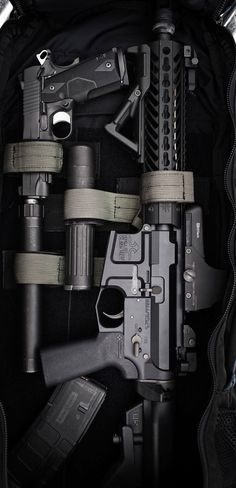 Go to bag... AR-15 assault rifle by Double D Armoury rifle and suppressed 1911 pistol stashed in the Phantom Trekker SBR Bag by Tactical Tailor (bag ID found by @Sergio Sanchez) | photo by Tracerx