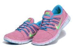 Womens Nike Free Run 5.0 EXT Suede Pink Blue Shoes