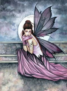 Molly Harrison hiding fairy watercolor art painting