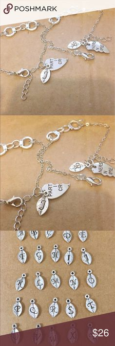 Two partners in crime charm bracelets Silver plated material. Bracelet measures 16 inches with 2 inches extender chain. Let me know your initials from A to Z Jewelry Bracelets
