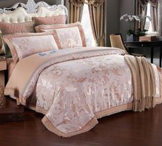 ROMORUS-4-Piece-Luxury-Bedding-Duvet-Cover-Set-Creme-Bronze-King-Queen