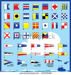 A complete vector set of Nautical flags for letters and numbers, including ordinal numbers