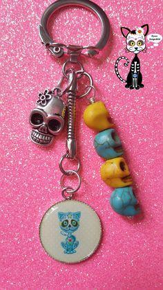 """BIJOU DE SAC PORTE-CLÉS CABOCHON KAWAII """"CHAT KAWAII DE LA MUERTE"""" : Porte clés par bijoux-songedete"""